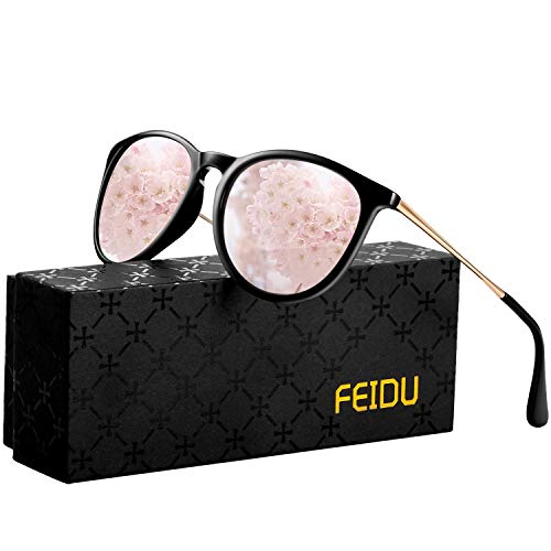 polarized sunglasses for women men - FEIDU vintage rounds sunglasses Unique design hi-frequency induction brazing Mirror leg Anti-seawater lenses Holiday 4171 (Pink, 14.5)