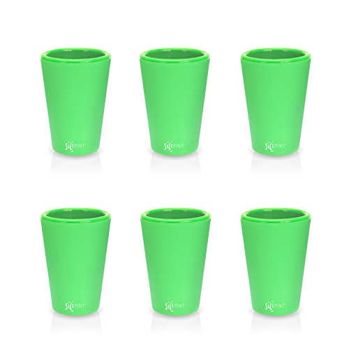 SILIPINT Silicone (Glow In The Dark) 1.5 Oz Shot Glasses, U.S. Patented, BPA-Free, Unbreakable, Freezable, Heat Resistant, Amazing Party Shot Glass (Set of 6-1.5 Oz)]()