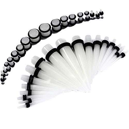 BodyJ4You 36PC Gauges Kit Glow in Dark Acrylic Taper Plug 14G-00G Ear Stretch O-Rings Body Piercing -