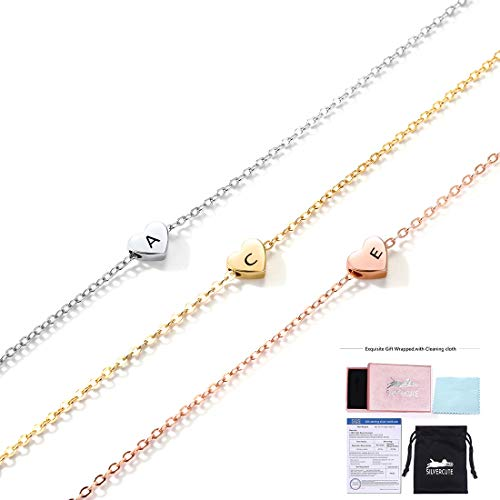 SILVERCUTE Customized Tiny Heart Initial Necklace Valentines Gift for Women Girls 925 Sterling Silver Simple 1.5mm Cable Chain Engravable Floating Heart Pendant (Rose Gold (Personalized))