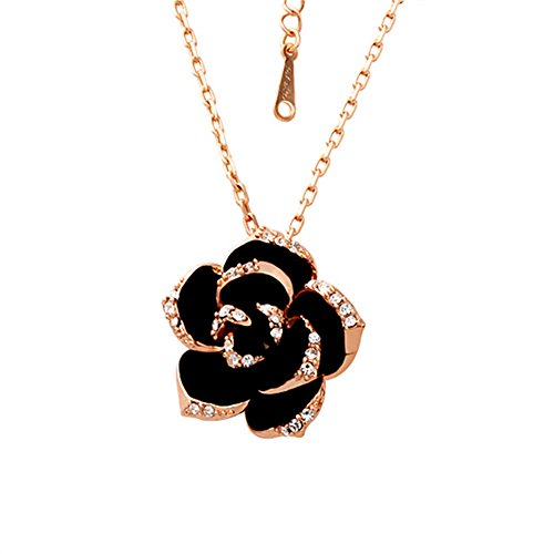 Scheppend Gold Plated Rose Flower Black paint Rhinestone Crystal Pendant Necklace(Rose (Black Rose Flower)