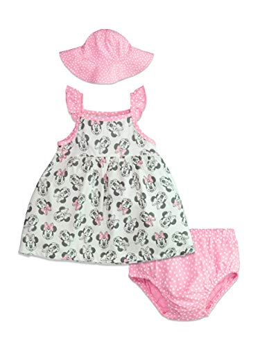 Disney Minnie Mouse Baby Girls Sunhat Dress & Diaper Cover Set 12 Months]()
