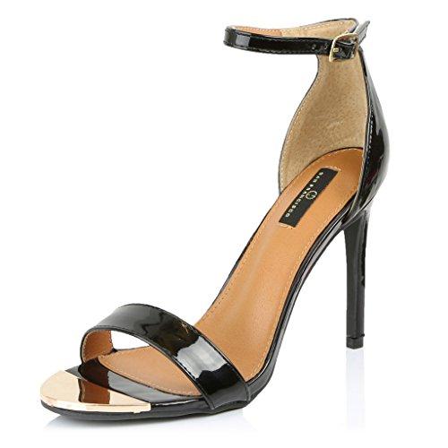 DailyShoes Women's Open Toe Ankle Buckle Strap Platform Evening Dress Casual Sandal Shoes, Black Patent Leather, 7.5 B(M) US (Patent Ankle Strap Platform)