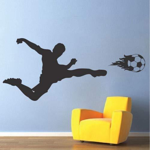 Diuangfoong Soccer Wall Decal Soccer Player Bedroom Wall Vinyl Kids Flaming Soccer Ball ()