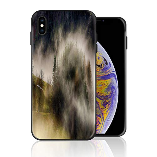 Silicone Case for iPhone X, Smoggy Foggy Road Forest Design Printed Phone Case Full Body Protection Shockproof Anti-Scratch Drop Protection Cover