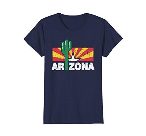 Womens Distressed Flag Of Arizona T Shirt Xl Navy