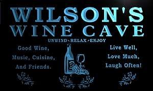 qw400-b Wilson's Wine Cave Bar Beer Pub Club Man Room Neon Light Sign