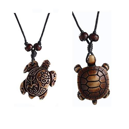 (Cute Sea Turtles Tortoises Pendant Necklaces Gifts for Women Men Children Gril Boy Brown 383B+379B)