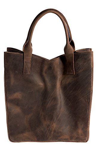 Rutherford Oiled Cowhide Leather Tote Bag, CHOCOLATE, Size 1 Size