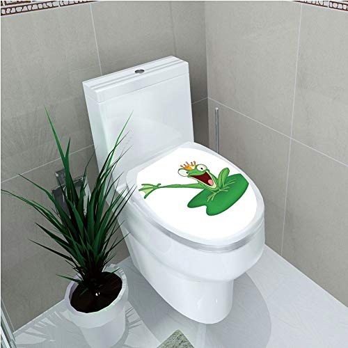 Toilet Cover Sticker 3D Printing,Animal Decor,Happy Frog Prince with Crown in The Lake Romantic Character Love Fairytale Art,Green Orange White,for You Design,W12.6