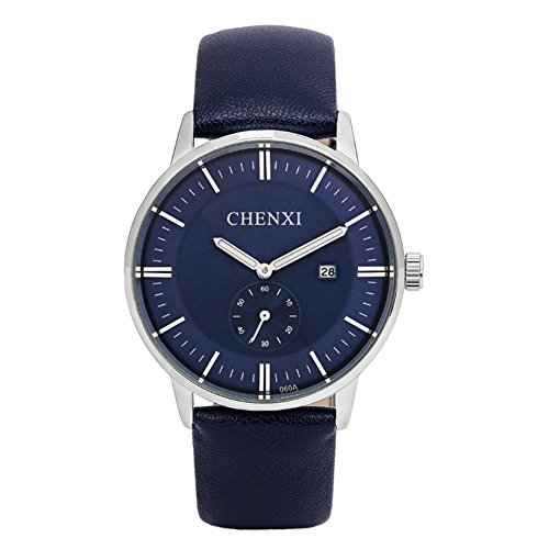 Classic Luxury Men's Casual Wrist Watches for Man,Dark Blue Leather Strap,Separated Seconds Hand,Date Calendar (Watch Face Round Blue)