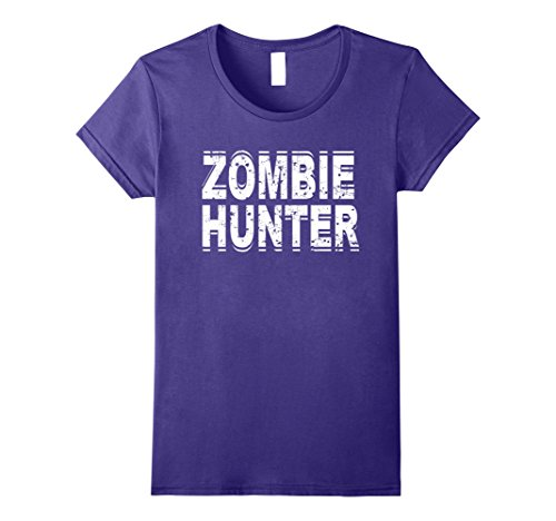 Womens Zombie Hunter T Shirt Scary Halloween Costume Small Purple