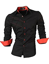 Jeansian Men's Slim Fit Long Sleeves Casual Shirts 2028