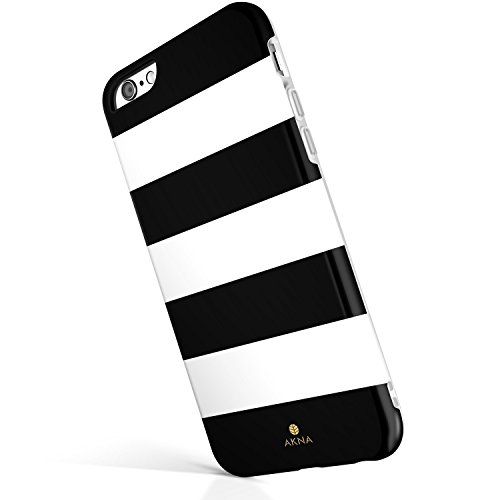iPhone 6/6s case for girls, Akna Get-It-Now Collection High Impact Flexible Silicon Case for both iPhone 6 & iPhone 6s [Black White Stripe](18-U.S)