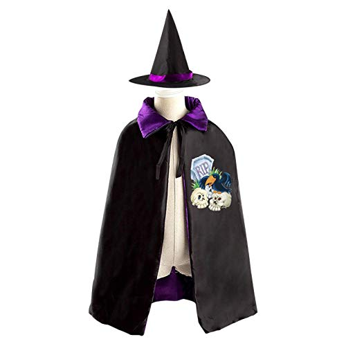 69PF-1 Halloween Cape Matching Witch Hat Tombstones Crows Logo Wizard Cloak Masquerade Cosplay Custume Robe Kids/Boy/Girl Gift Purple -