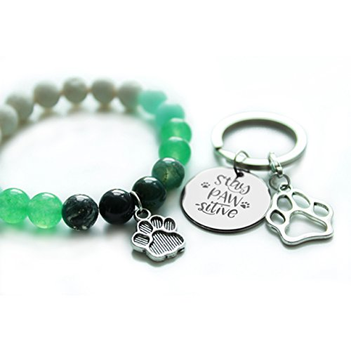 - Handmade Pet Lovers Bracelet + Key Chain in Gift Wrap | 8 mm Natural Amazonite, Agate and Created Malaysian Jade Beads Friendship Bracelet | for Men and Women who Love Animals | Made by Veterinarian