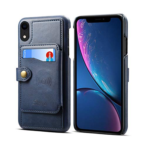 Case for Apple iPhone XR 6.1 2018 Apple,Leather ID Card Slot Holder Kickstand Sticking Protective Slim Soft Wallet Blue Cover Shell