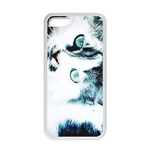 Cute Cat Fashion Creative White Phone Case for Iphone 5C