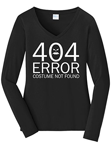 Dancing Participle Women's 404 Error Costume Not Found Long Sleeve V Neck T-Shirt, 3X-Large, Black - 404 Error Costume Not Found Image