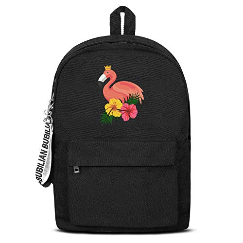 - Tropical Aloha Pink Flamingo Flowers Unisex Canvas Backpack Custom Satchel Small Backpack for Girls Boys