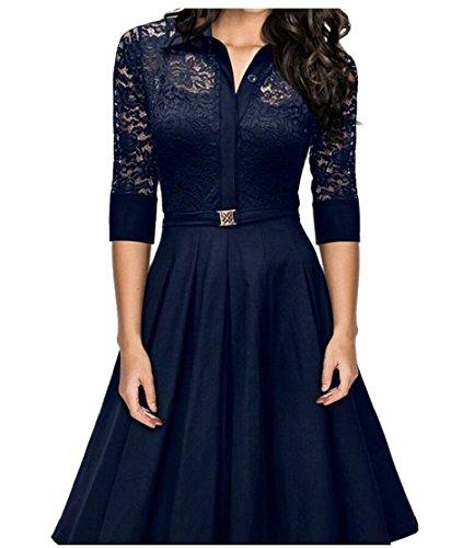 Lapel Flare Lace Sleeve Lace Womens A Line Flare Jaycargogo Blue Half Dresses 0AxaSwR55q