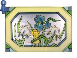 Blue Iris with Border Horizontal Painted Art Glass Panel by Silver Creek