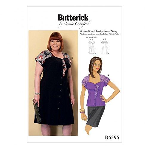 Butterick Ladies Plus Size Sewing Pattern 6395 Sweetheart Neckline Blouse & Dress -