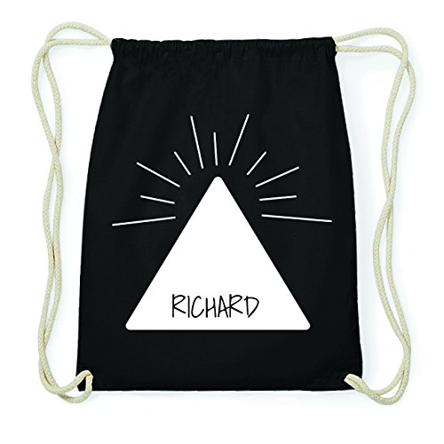 JOllify RICHARD Hipster Turnbeutel Tasche Rucksack aus Baumwolle - Farbe: schwarz Design: Pyramide f6pSUZhRr