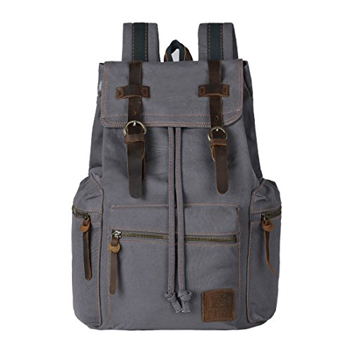 ONEB Laptop Canvas Backpack Unisex Vintage Leather Casual Rucksack School College Bags Satchel Bookbag Large Capacity Hiking Travel Rucksack Business Daypack for Men and Women (15.6 inches ()