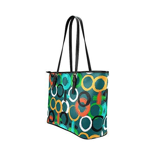 Dam axelväskor konst kreativt mode rund graffiti läder handväskor väska orsaksala handväskor dragkedja axel organiserare för dam flickor kvinnor flicka handväskor för kvinnor
