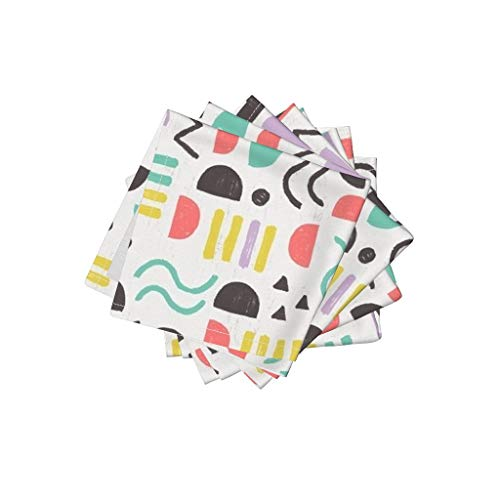 Roostery Geometric Organic Cotton Sateen Cloth Cocktail Napkins Geometrical Shapes Squiggle Lines Dots Kids Kids Geometric Shapes Terrain Landscape Abstract by Allierunnion Set of 4: 10 x 10in ()