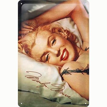 Blechschild 20 x 30 cm Marilyn Monroe Bed NEU