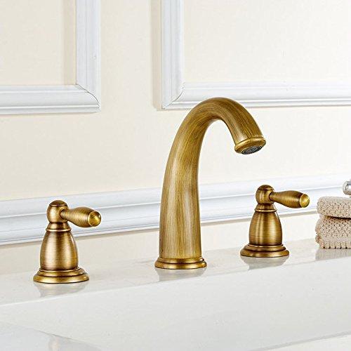 Bijjaladeva Antique Bathroom Sink Vessel Faucet Basin Mixer Tap Contemporary full copper brushed bathroom double the 3 holes basin mixer antique