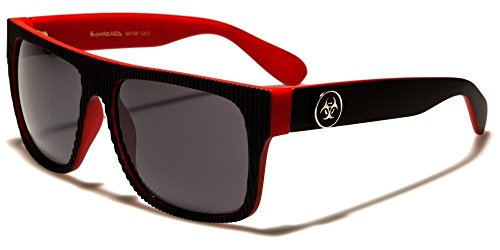 Black Red Biohazard Ribbed Face Vintage Shades Men'S Fashion - Sunglasses Independent Italian