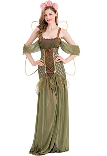 Honeystore Women's Forest Princess Adult Halloween Role Playing Costume Green (Adult Women Costume Ideas)