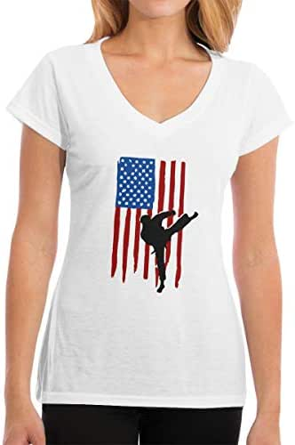 Zhangyi Womens USA Flag Team Taekwondo V-Neck Cotton T-Shirts Short Sleeve