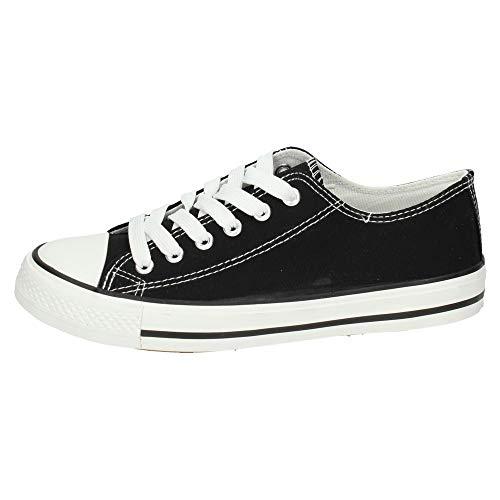 Mujer Shoes f S122 Bambas Negras H blanco Zapatillas Negro Lonas WCYwd5yq