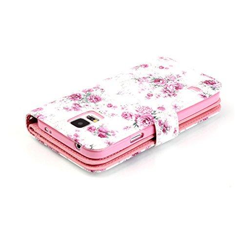 Para Smartphone Samsung Galaxy S5/i9600Funda Flip Cover Funda Piel [Tarjetero] funda piel cartera Executive Diseño + Polvo Conector rojo 6 12