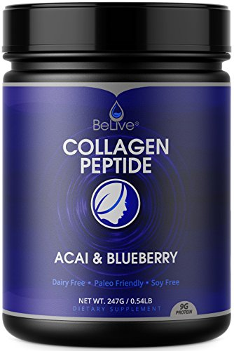 Collagen Powder Premium Hydrolyzed Peptides Protein for Women and Men | Designed for Healthier Hair, Skin and Nail, Anti-Aging, Joint Support, Digestive System. Blueberry & Acai Flavored