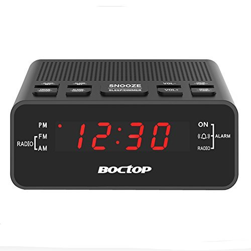 "Alarm Clock Radio, Digital Alarm Clock, AM/FM Radio Snooze, Sleep Timer, Dimmer, 0.6"" Digital LED Display Battery Backup Function Bedroom, Office, Table Desk price tips cheap"