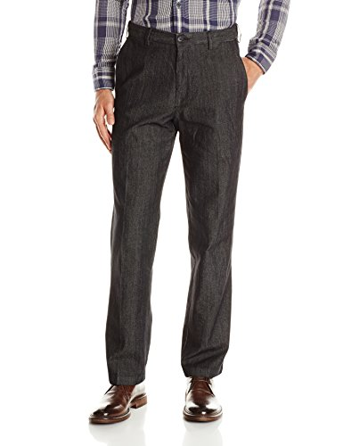 Haggar Men's Stretch Color Denim Expandable Waist Classic Fit Plain Front Pant, Black, 44x30