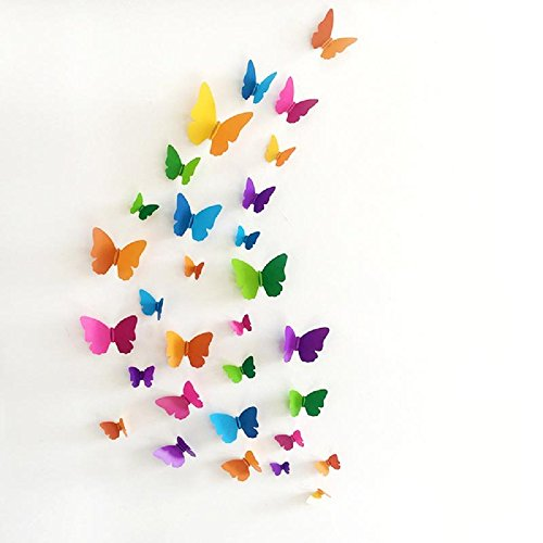 Jaamso Royals 'Multicolor 3D Butterflies' Wall Sticker 1 Combo of 19 Piece (PVC Vinyl, 21 cm x 29.7...