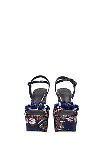 Tory Burch Wedges Women - Fabric (51158598BRIGHTNAVY) UK Blue Alpxu