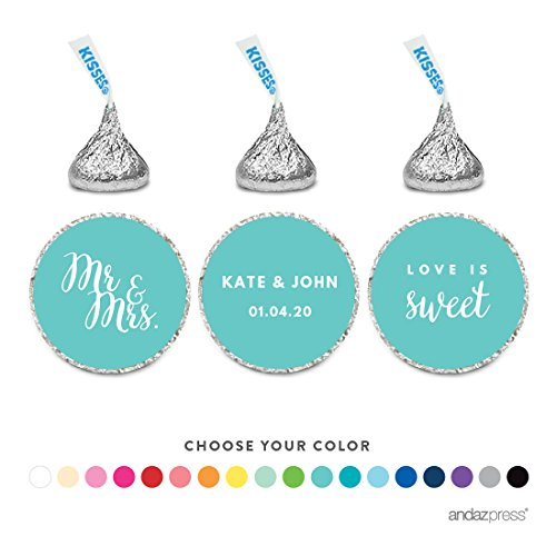 Andaz Press Personalized Chocolate Drop Labels Trio, Fits Hershey's Kisses, Wedding, 216-Pack, Stickers Custom Made Any Name and Color