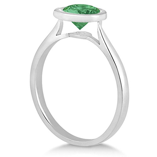 Womens-Floating-Bezel-Set-Solitaire-Emerald-Engagement-Ring-14k-White-Gold-100ct