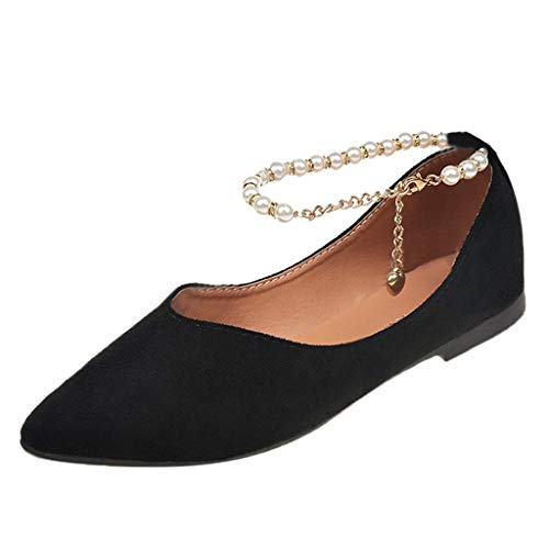 Cywulin Women's Comfortable Crystal Pearls Wedding Bridal Pointy Toe Slip On Ballet Flat Shoes Fashion Casual Pumps Shoes (Black, 7.5 M -
