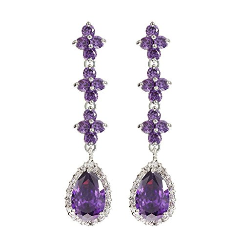 Gnzoe Fashion Cubic Zirconia Long Paragraph Brilliant Drop Purple Womens Dangle - Tory Burch Old Collection