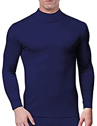 Men's Modal Mock Thermal Turtleneck Long Sleeve Basic Solid T Shirt