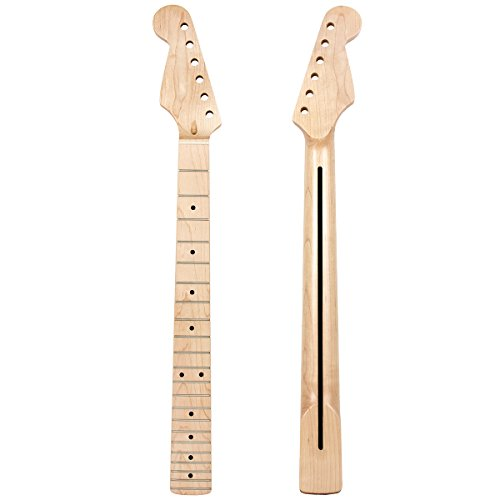 Left Hand Electric Guitar Neck Parts Replacement 22 Frets Canada Maple Wood with Back Profile Clear Satin
