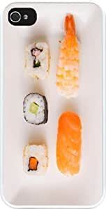 Rikki KnightTM Seafood Sushi Plate Design iPhone 5 & iPhone 5s Case Cover (White Rubber with bumper protection) for Apple iPhone 5